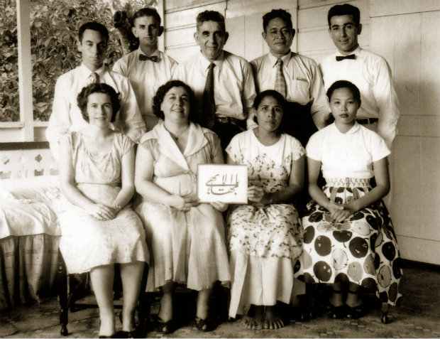 The first Local Spiritual Assembly of the Baha'is of Samoa, 1957.