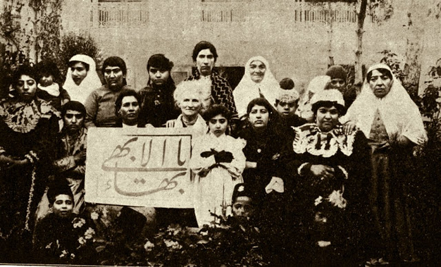 Dr. Moody with Baha'i women in Tehran, 1910. These women were some of the first to appear in public without veils. (Photo courtesy of the Baha'is of the U.S. - www.bahai.us)