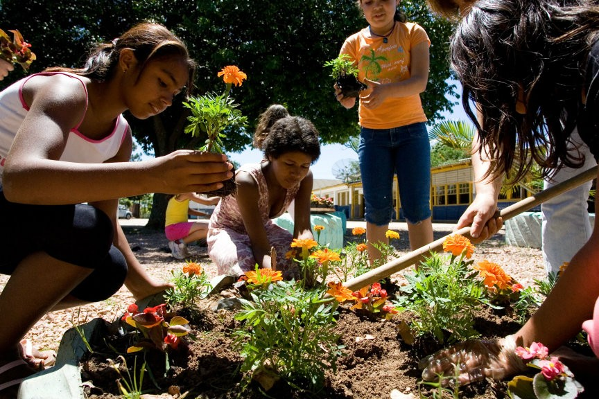 Members of a community in Brazil plant flowers. (Photo: Baha'i World Centre)