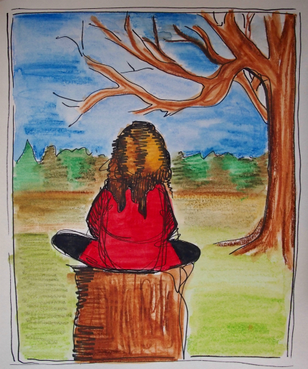 The day I found out you were here too. Gorgeous day. Red dress. I sat on a tree stump. Dec. 2015, ink pencil on paper.