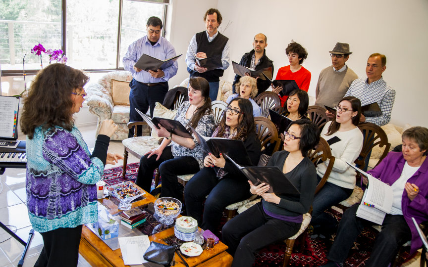 Rehearsal time for Baha'i-inspired choir 'Perfect Chord' based in Melbourne, Australia. (Photo: Rachael Dere)