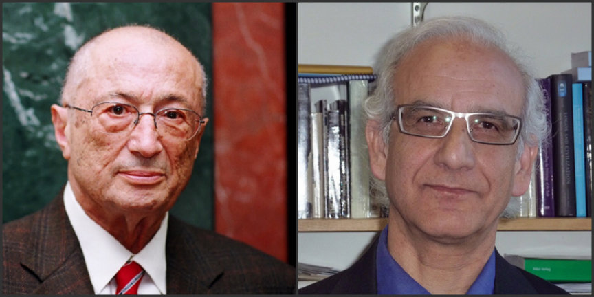 Professor Amin Banani on the left and Professor Nader Saiedi is on the right.