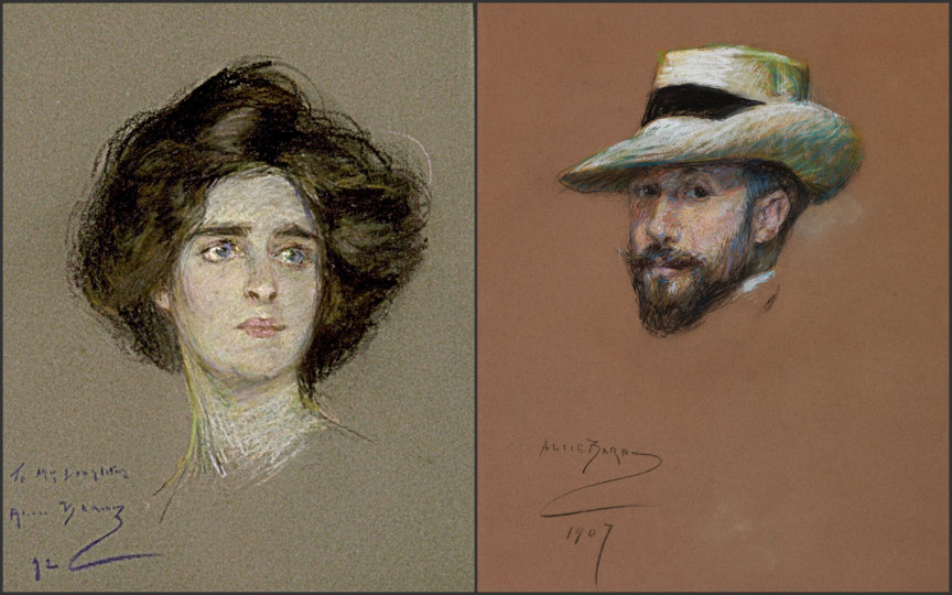 Laura Dreyfus-Barney (30 November, 1879 - 18 August, 1974) and Hippolyte Dreyfus-Barney (12 April, 1863 - 20 December, 1928). These portraits of Laura and Hippolyte were done by Laura's mother, Alice, and the images are courtesy of the Smithsonian American Art Museum.