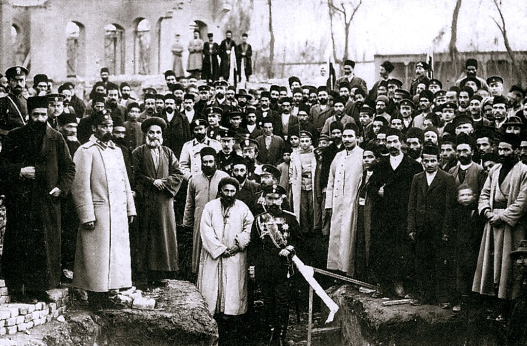 Laying the foundation stone of the Baha'i Temple