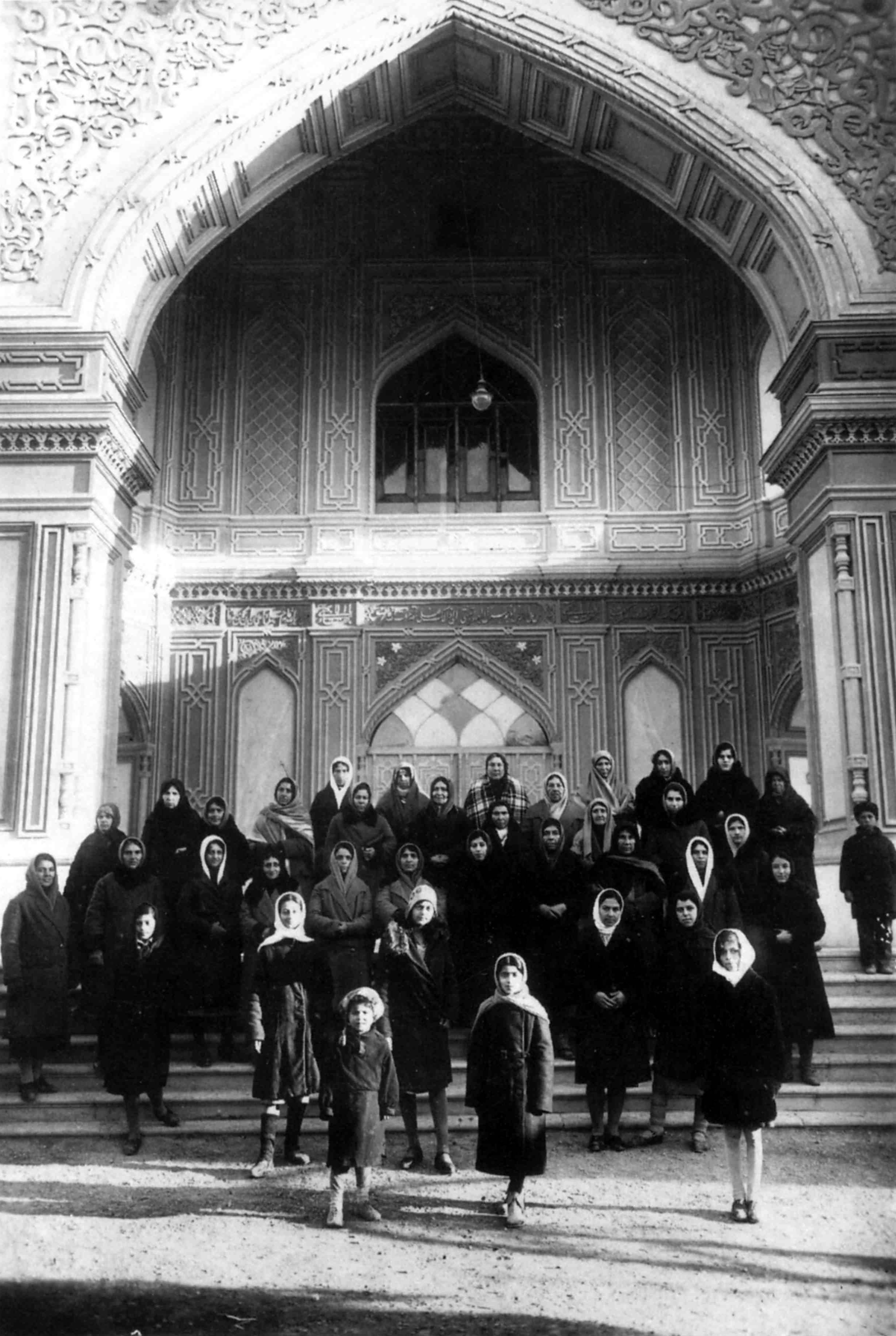 Female Members of the Baha'i Community on the steps of the House of Worship