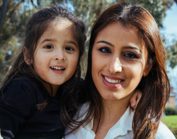 Author Kamelia Khoshmashrab with her eldest daughter.
