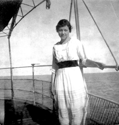 Leonora Holsapple Armstrong (June 23, 1895 – October 17, 1980) on board the S. S. Vasari bound for Brazil in 1921. (Photo: courtesy of Kristine Leonard Asuncion Young)